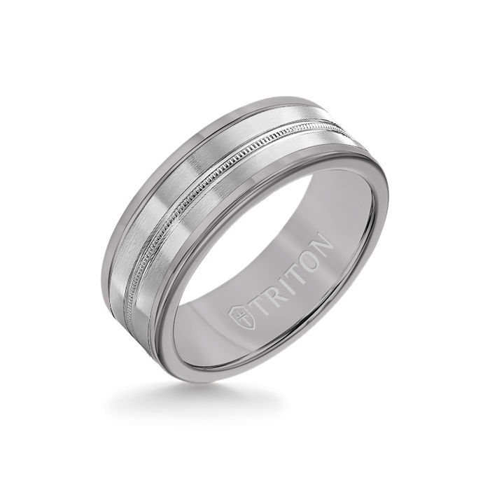 8MM Grey Tungsten Carbide Ring - Center Milgrain 14K White Gold Insert with Round Edge