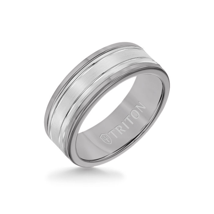8MM Grey Tungsten Carbide Ring - Double Engraved 14K White Gold Insert with Round Edge