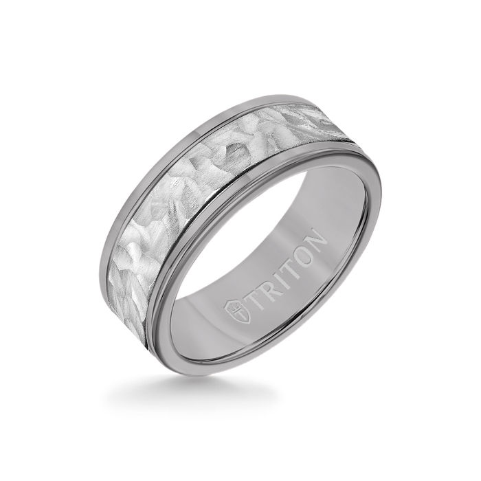8MM Grey Tungsten Carbide Ring - Hammered 14K White Gold Insert with Round Edge