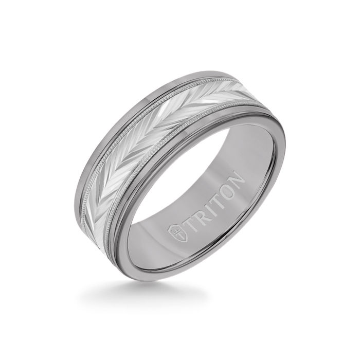 8MM Grey Tungsten Carbide Ring - Herringbone 14K White Gold Insert with Round Edge