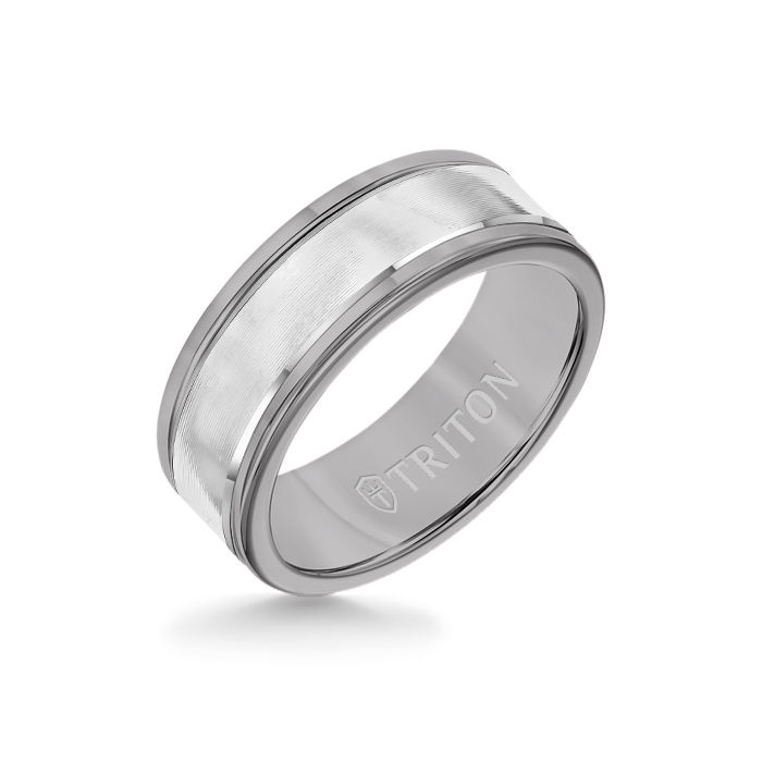 8MM Grey Tungsten Carbide Ring - Linear 14K White Gold Insert with Round Edge