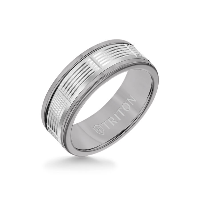 8MM Grey Tungsten Carbide Ring - Serrated Vertical Cut 14K White Gold Insert with Round Edge