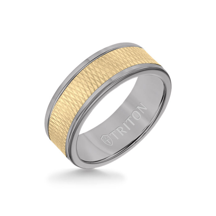 8MM Grey Tungsten Carbide Ring - Criss Cross 14K Yellow Gold Insert with Round Edge