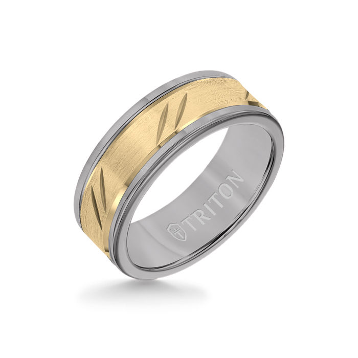 8MM Grey Tungsten Carbide Ring - Bevel Diagonal Cut 14K Yellow Gold Insert with Round Edge