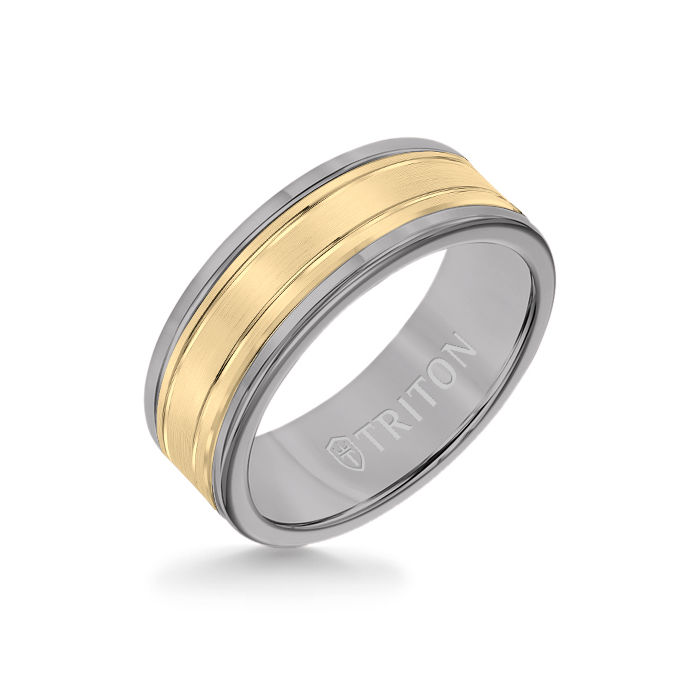 8MM Grey Tungsten Carbide Ring - Double Engraved 14K Yellow Gold Insert with Round Edge