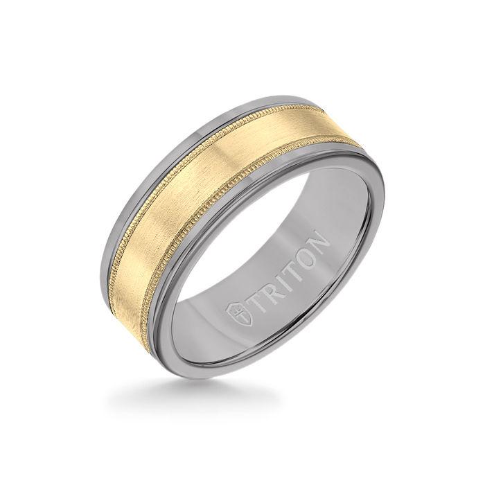 8MM Grey Tungsten Carbide Ring - Flat Milgrain 14K Yellow Gold Insert with Round Edge