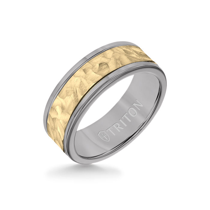 8MM Grey Tungsten Carbide Ring - Hammered 14K Yellow Gold Insert with Round Edge