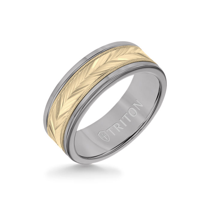 8MM Grey Tungsten Carbide Ring - Herringbone 14K Yellow Gold Insert with Round Edge
