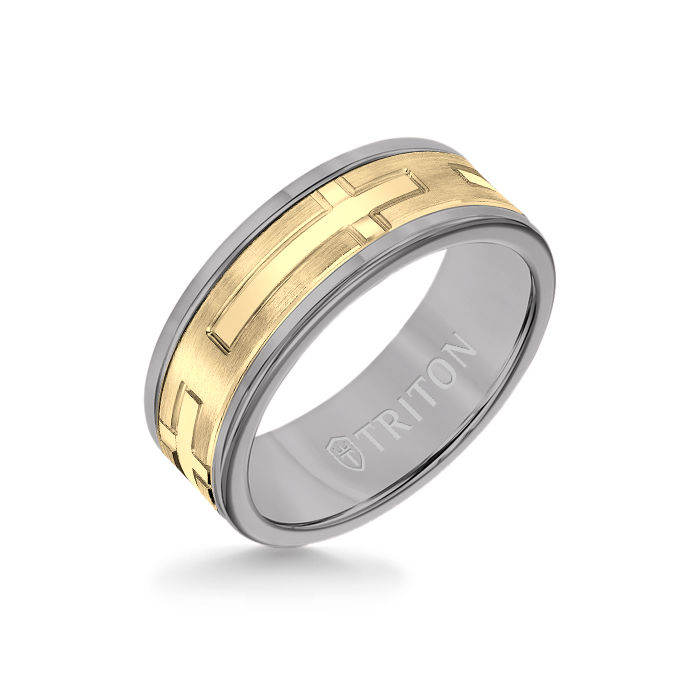 8MM Grey Tungsten Carbide Ring - Religious 14K Yellow Gold Insert with Round Edge
