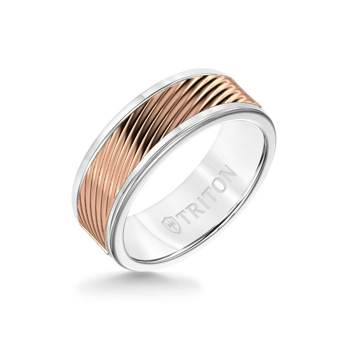 8MM White Tungsten Carbide Ring – 3D Wave 14K Rose Gold Insert with Round Edge