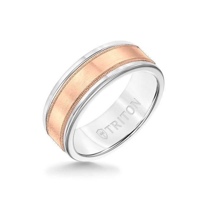 8MM White Tungsten Carbide Ring - Flat Milgrain 14K Rose Gold Insert with Round Edge