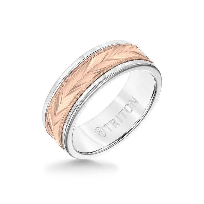 8MM White Tungsten Carbide Ring - Herringbone 14K Rose Gold Insert with Round Edge