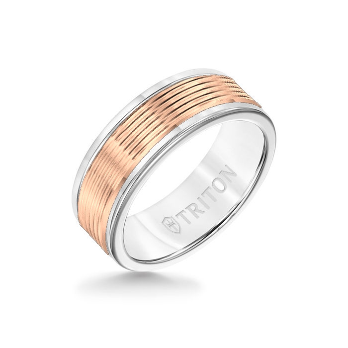 8MM White Tungsten Carbide Ring - Serrated Engraved 14K Rose Insert with Round Edge