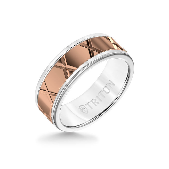 8MM White Tungsten Carbide Ring – StarX 14K Rose Gold Insert with Round Edge