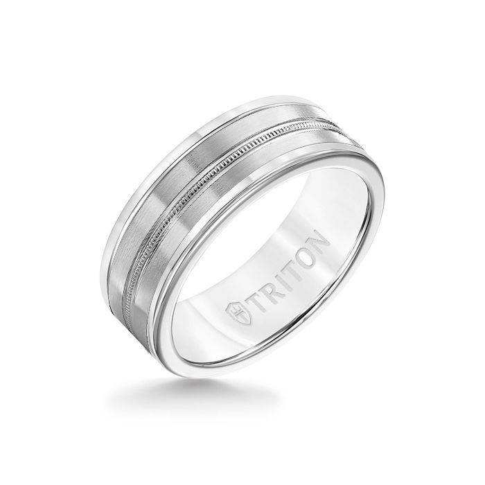 8MM White Tungsten Carbide Ring - Center Milgrain 14K White Gold Insert with Round Edge