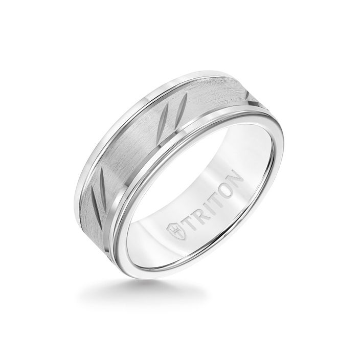 8MM White Tungsten Carbide Ring - Bevel Diagonal Cut 14K White Gold Insert with Round Edge