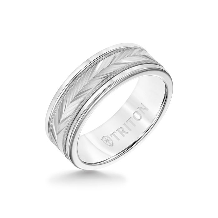 8MM White Tungsten Carbide Ring - Herringbone 14K White Gold Insert with Round Edge