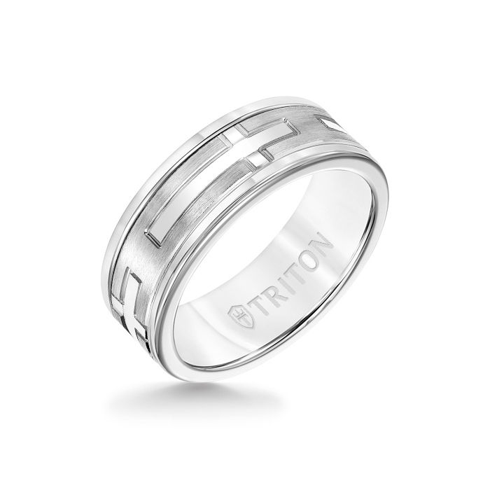 8MM White Tungsten Carbide Ring - Religious 14K White Gold Insert with Round Edge
