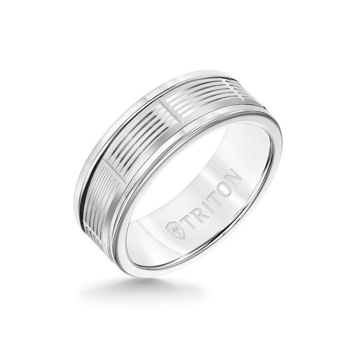 8MM White Tungsten Carbide Ring - Serrated Vertical Cut 14K White Gold Insert with Round Edge