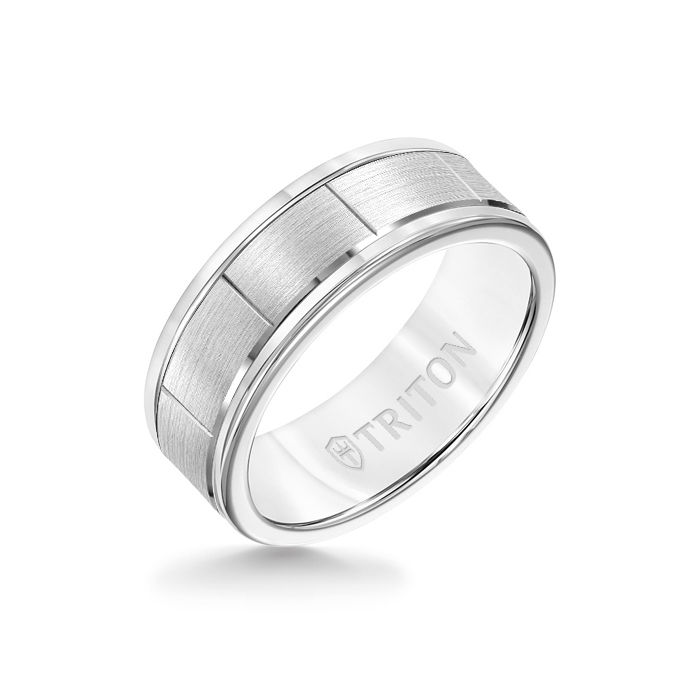8MM White Tungsten Carbide - Vertical Cut 14K White Gold insert with Round Edge