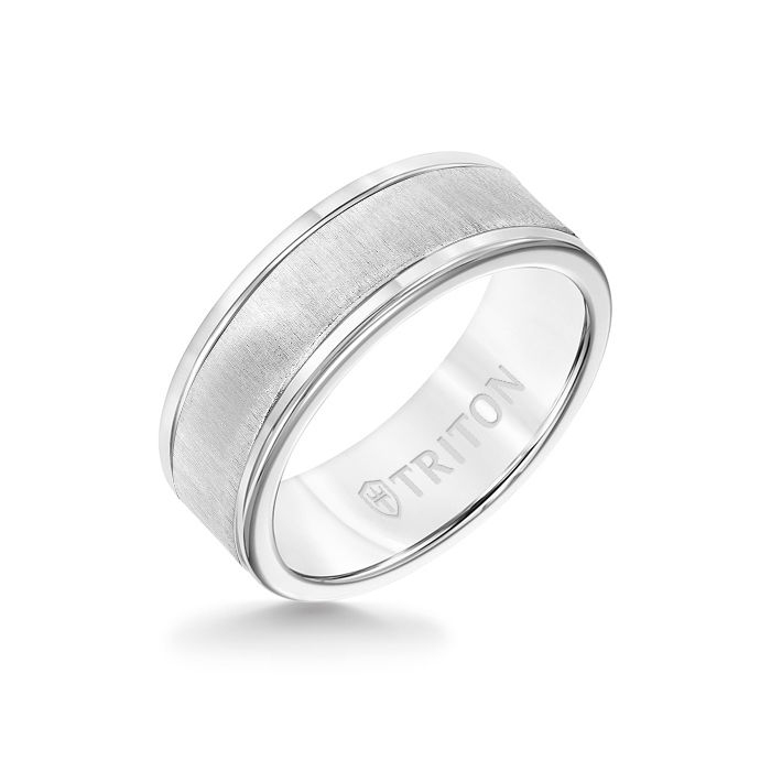 8MM White Tungsten Carbide Ring - Vertical Satin 14K White Gold Insert with Round Edge