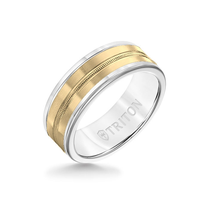8MM White Tungsten Carbide Ring - Center Milgrain 14K Yellow Gold Insert with Round Edge