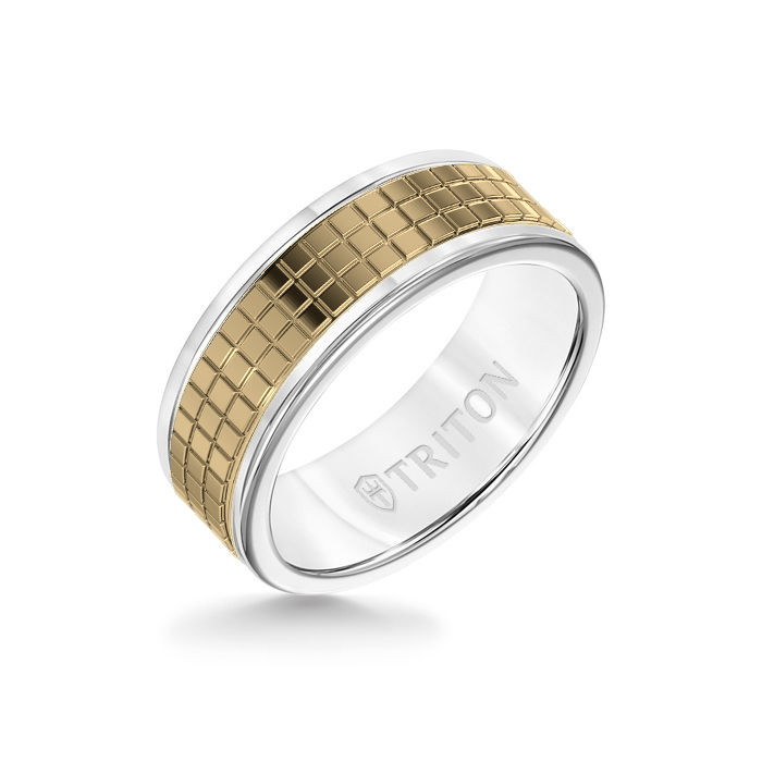 8MM White Tungsten Carbide Ring – Cubed 14K Yellow Gold Insert with Round Edge