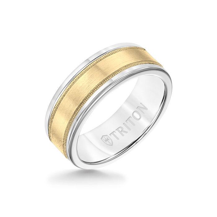 8MM White Tungsten Carbide Ring - Flat Milgrain 14K Yellow Gold Insert with Round Edge