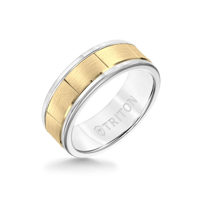 8MM White Tungsten Carbide - Vertical Cut 14K Yellow Gold insert with Round Edge