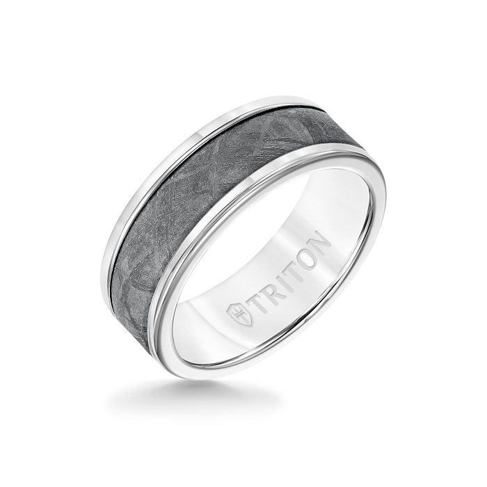 8MM White Tungsten Carbide Ring - Meteorite Insert with Round Edge