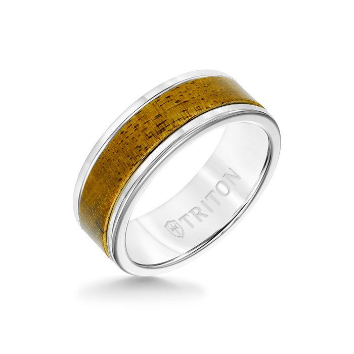 8MM White Tungsten Carbide Ring - Wood Insert with Round Edge