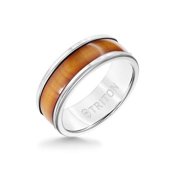 8MM White Tungsten Carbide Ring - Cherry Dome Insert with Round Edge