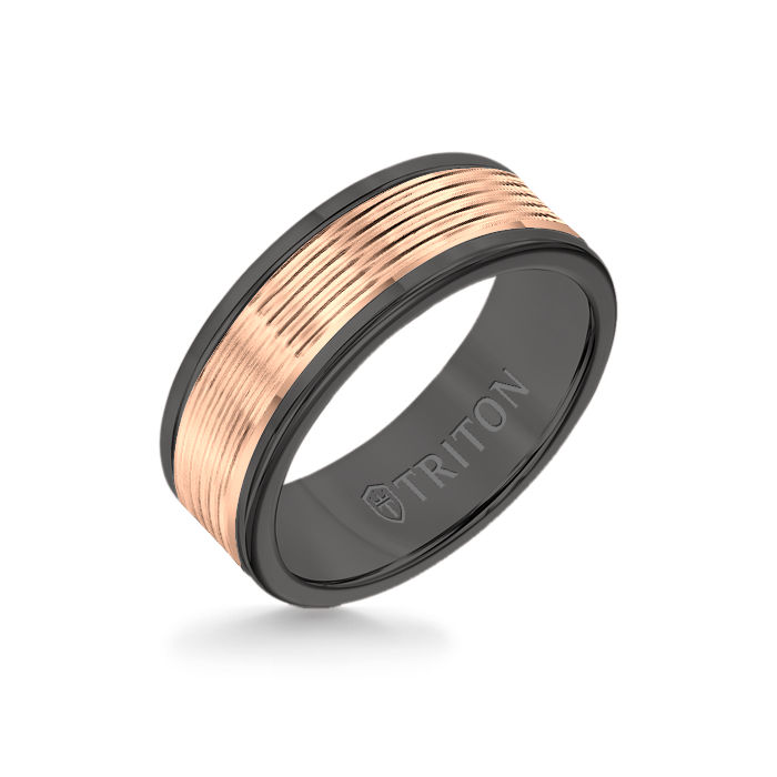 8MM Black Tungsten Carbide Ring - Serrated Engraved 14K Rose Insert with Round Edge