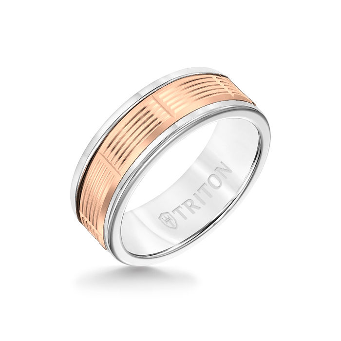 8MM White Tungsten Carbide Ring - Serrated Vertical Cut 14K Rose Gold Insert with Round Edge