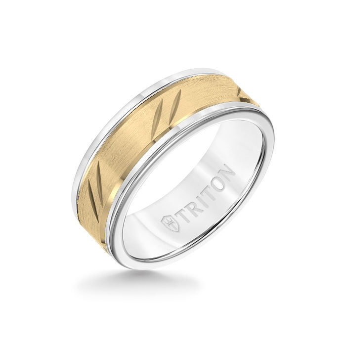 8MM White Tungsten Carbide Ring - Bevel Diagonal Cut 14K Yellow Gold Insert with Round Edge