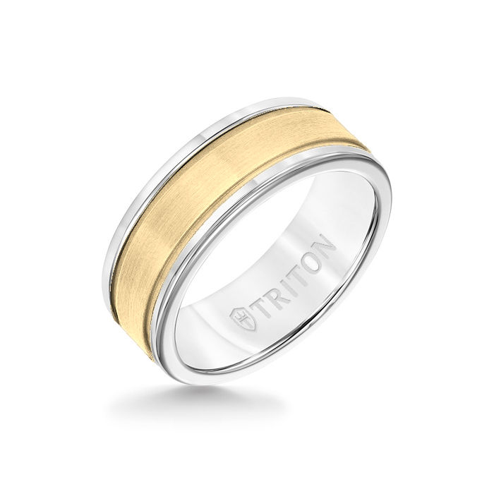 8MM White Tungsten Carbide Ring - Step Edge 14K Yellow Gold Insert with Round Edge